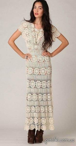 Нарядное длинное платье крючком. (10 фото) - картинка