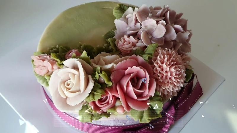 앙금플라워 장미,수국 꽃짜기 hydrangea flower piping cake decorating