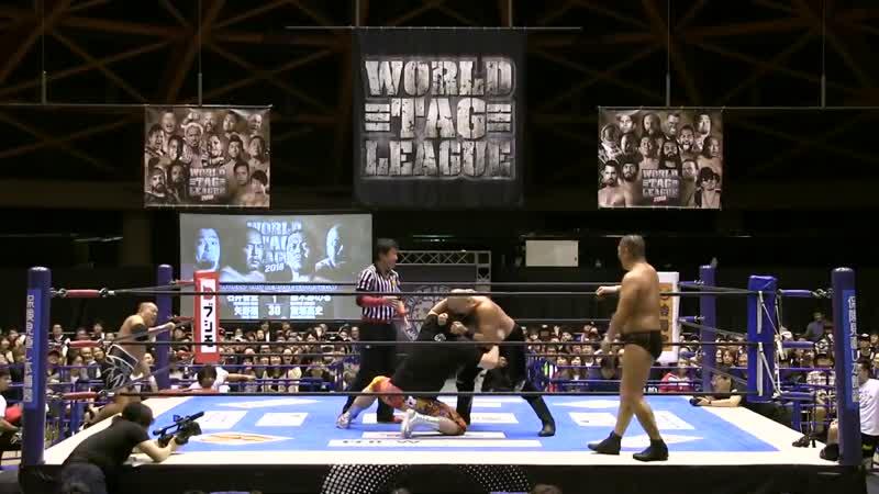 [My1] NJPW World Tag League 2018 (День 3) - CHAOS (Tomohiro Ishii Toru Yano) vs. Suzuki-gun (Minoru Suzuki Takashi Iizuka)