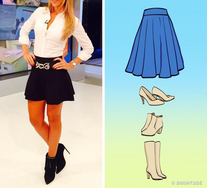 Какую обувь носить с юбкой: карандаш, тюльпан, солнце, запАх - обувь под юбку