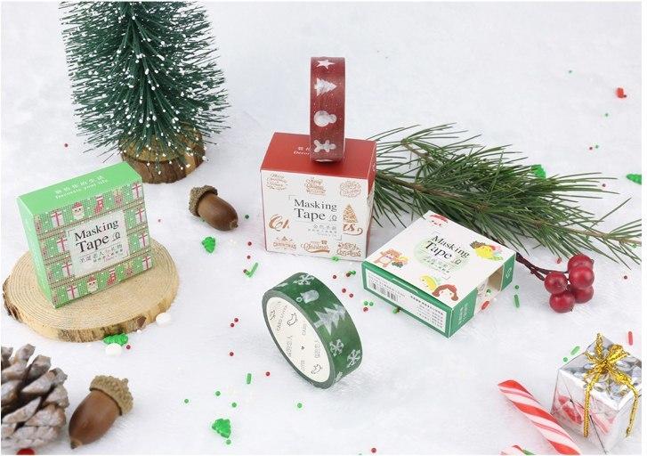 Декоративный скотч с новогодними рисунками для украшения подарков и открыток -