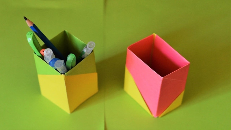 How to make a pencil/pen holder at home DIY ||Origami pencil stand