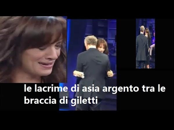 Non è larena, VIDEO DI Asia Argento che crolla in lacrime tra le braccia di Giletti.