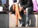 sitting girl with nice legs in miniskirt and pantyhose 04
