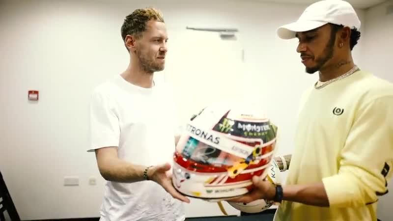 Lewis Hamilton Sebastian Vettel Swap F1 Helmets!