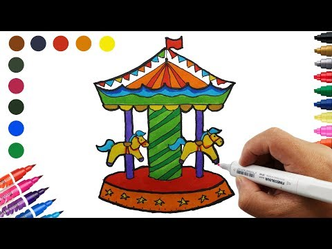 How to Draw Carousel with Horses Coloring pages Drawing for Children