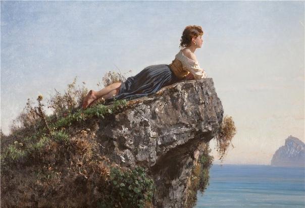Картина «Девушка на скале в Сорренто» Художник Филиппо Палицци 1871 год.Палицци рисовал полотна исторического жанра, портреты, пейзажи, работал также в анималистическом и бытовом жанрах. Для его