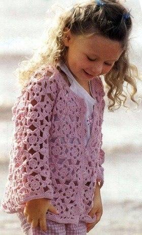 Розовый ажурный жакет из мотивов для девочки…. (3 фото) - картинка