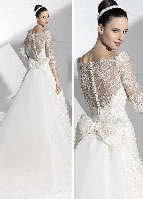 Платье свадебное с пуговицами по спине