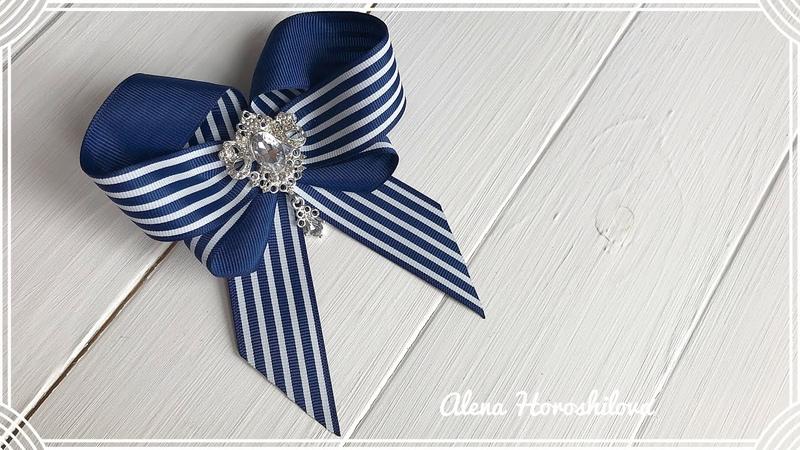 Галстук брошь из ленты 2 5см МК Канзаши Алена Хорошилова tutorial ribbon bow laço de fitas