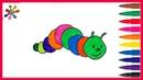 Рисуем разноцветную гусеницу . We draw a multi-colored caterpillar.Раскраски для детей.