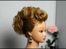 Elegant hairstyle for medium hair. Prom party updo. Элегантная прическа для средних волос.