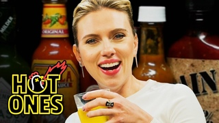 Scarlett Johansson Tries To Not Spoil Avengers While Eating Spicy Wings | Hot Ones