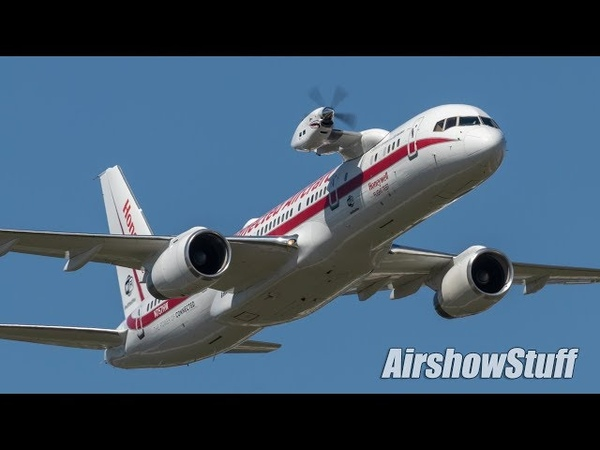 Honeywell Flying Testbed 757 Takeoff and Flyby - EAA AirVenture Oshkosh 2018