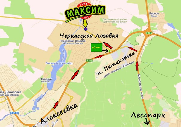 Карта Черкасской Лозовой