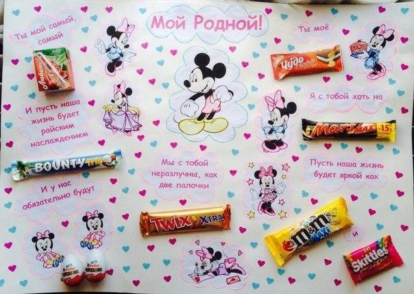 Плакаты из сладостей маме