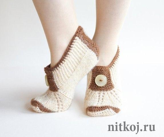 Тапочки носочки спицами. Описание (1 фото) - картинка
