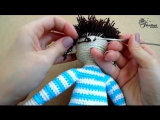Крепление волос кукле.