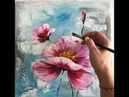 Easy Floral Painting Demonstration Acrylic Technique on canvas by Julia Kotenko