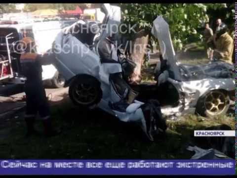 В Красноярске на ул. Чайковского Nissan Skyline намотало на дерево: погибли двое