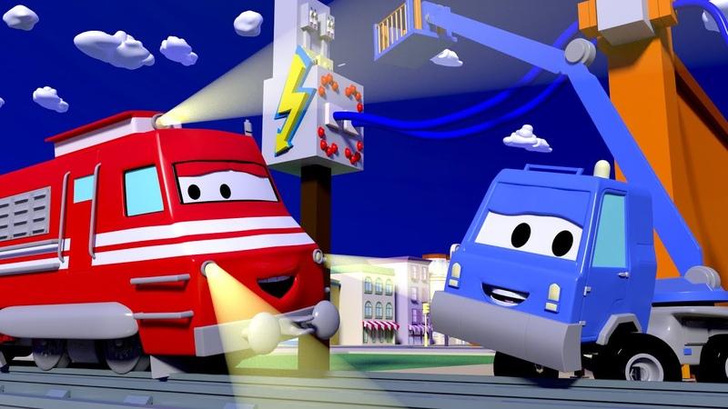 Поезд Трой - Авто подъёмник Чак чинит линию электропередач - детский мультфильм