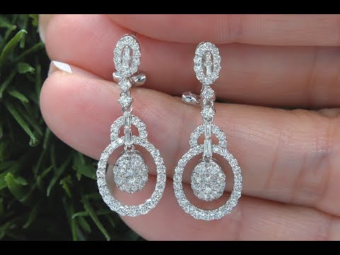 GIA Certified VS/SI White Diamond Dangle Cocktail Earrings 18k White Gold 1.88 TCW - C1063