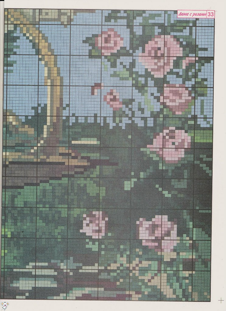 Схема вышивки крестом дама с розами 44