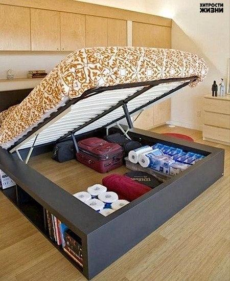 Места никогда не бывает слишком много. Особенно если речь идет о комнатах скромного метража. Главный секрет прост: любой предмет мебели в маленькой комнате может одновременно выполнять две функции. Одна – его основная, а вторая – хранение вещей.
