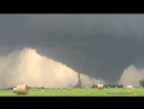 DOUBLE Rare Twin Tornadoes and Lightning near Pilger, NE