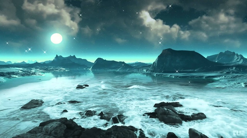 Moonlight Stars And Ocean Waves 2 Video Background HD 1080p