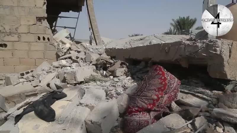 Сирия. Видео разрушенной авиаударом американской коалиции мечети в районе н.п. Суса в долине Евфрата провинции Дейр-Эз-Зор.