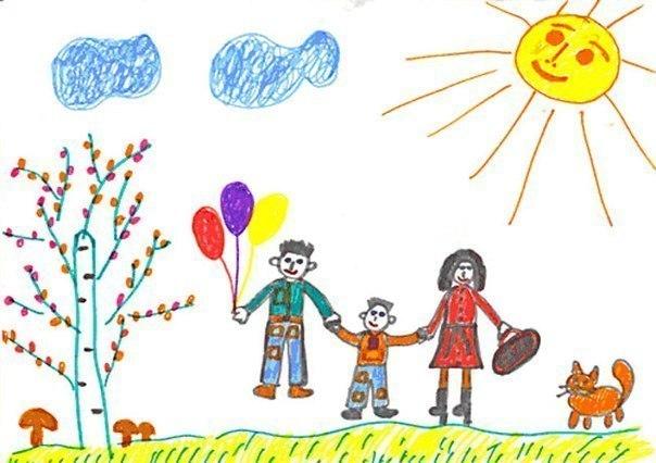 """ТЕСТ ДЛЯ ДЕТЕЙ """"РИСУНОК СЕМЬИ"""" """"Рисунок семьи"""" - одна из самых популярных методик, которую используют психологи в работе с детишками уже младшего дошкольного возраста. Данная методика направлена на выявление эмоциональных проблем и трудностей взаимоотношений в семье. В рисунке дети могут выразить то, что им трудно бывает высказать словами. Среди исследователей нет единого мнения, кто и когда предложил использовать рисунок семьи в психодиагностических целях. Начиная с 30-х…"""