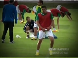 Outch! Turkish Soccer Player grabbing his dick! )