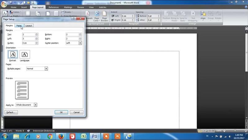 Cara Mengatur Kertas Legal Mempersiapkan Untuk Mengetik di Microsoft Word 2007