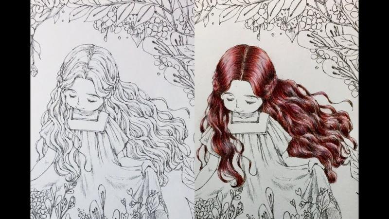 Раскрашиваем волосы в раскраске антистресс/Как раскрасить волосы