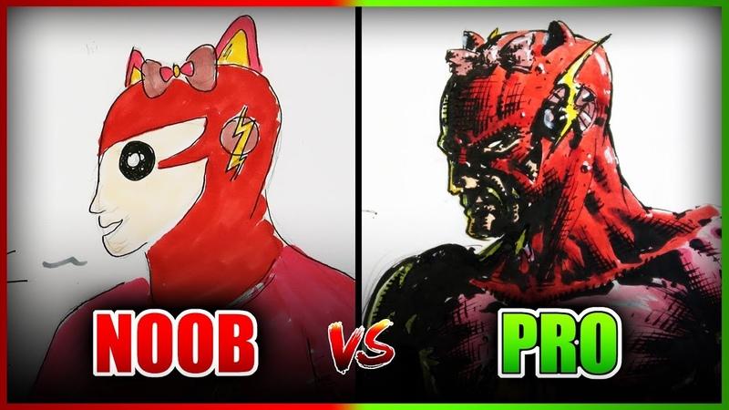 NOOB vs PRO Character Design Drawing/Art Challenge (Anime Hello Kitty Flash Mashup)