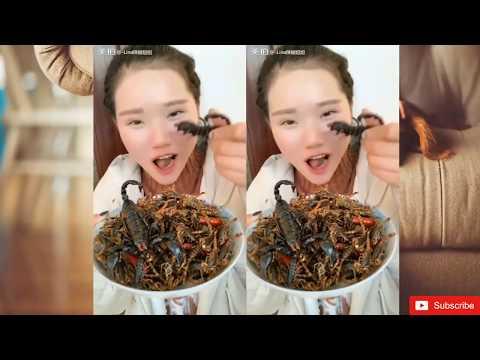 중국의 곤충과 벌레 먹는 아름다운 소녀 ㄷㄷ 아리따운 소녀가 맛있게도 먹453