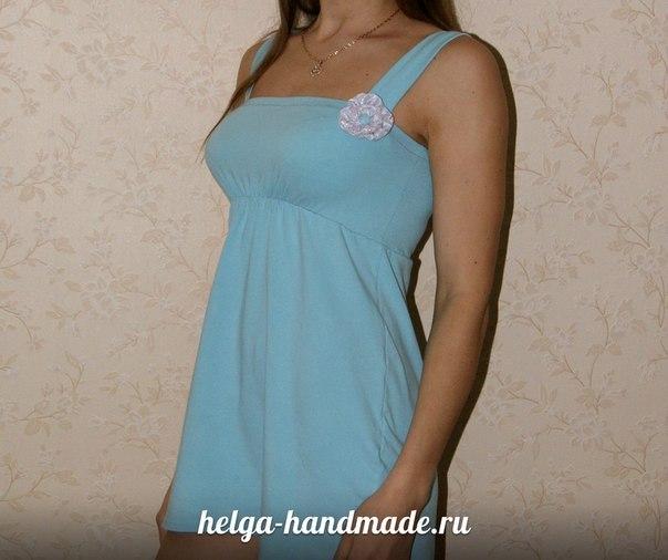 Домашнее платье из футболки. (5 фото) - картинка