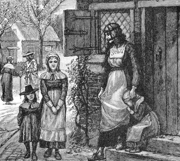 Scolds bridle - маска (уздечка) для сварливых женщин. Первая официально зарегистрированная «ругательская уздечка» (scolds bridle или brans bridle) появилась в Шотландии в 1567 году. Она