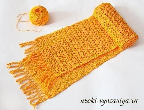 Ажурный шарф крючком, мастер-класс для начинающих
