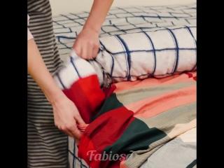 Как просто и быстро сложить постельное белье!