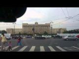 american soldier in Piter on the pink bicycle