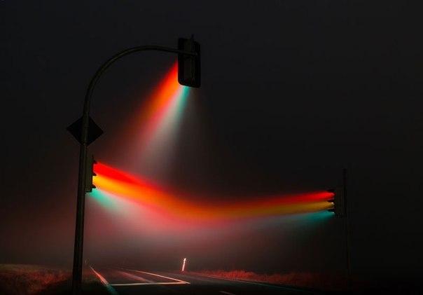 Светофор в тумане около Веймара, Германия