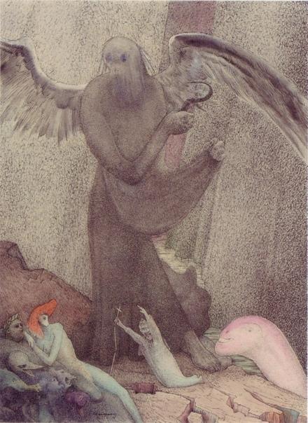 Страшные сны Вальтера Шнакенберга Немецкий художник Вальтер Шнакенберг (Walter Schnacenberg) был очень известен в начале-середине 20го века, а сейчас практически забыт. До войны он рисовал