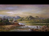 Oil Painting Landscape With Mountains + Lake By Yasser Fayad