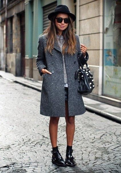 С чем носить серое пальто