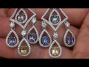GIA Certified UNHEATED Natural Multicolor Sapphire Diamond 18k Gold Earrings C315
