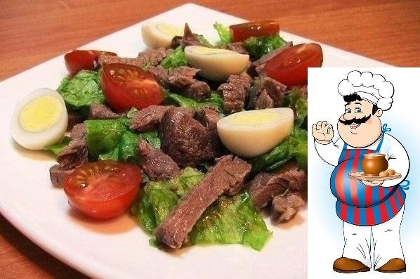 Салат с говядиной, помидорками и яйцами