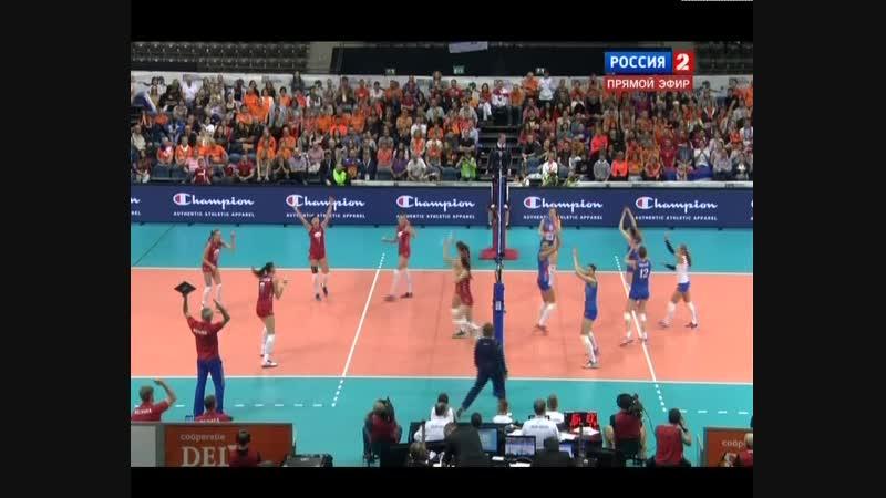 03.10.2015. 19:25 - Волейбол. Чемпионат Европы. Женщины. Полуфинал. Россия - Сербия