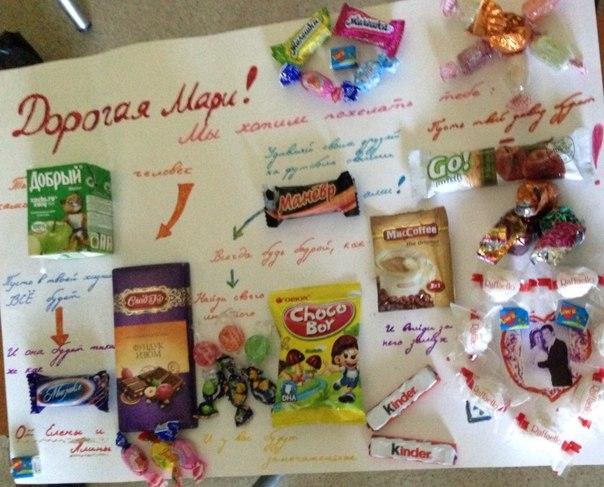 Плакат с днем рождения с шоколадками своими